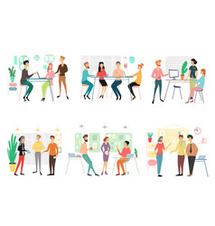 set different business people working in office vector image