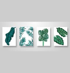 set invitation card leaves background vector image