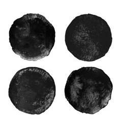 Set of black watercolor circular backgrounds vector
