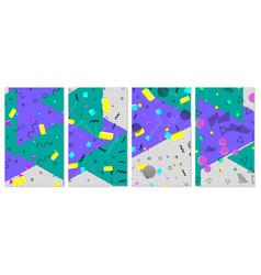 set of memphis pattern pop art color background vector image
