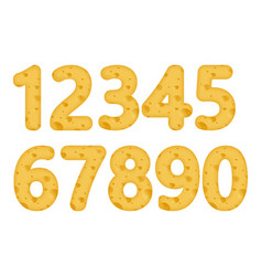 set of number with the texture of cheese vector image