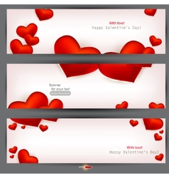 set of three banners with red hearts valentines da vector image vector image