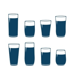 Set of water glass vector