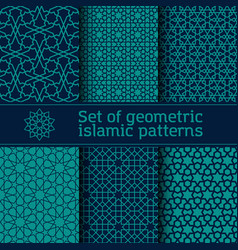 set seamless islamic patterns vector image
