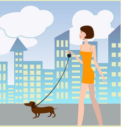 Sexy girl walking with a dog vector