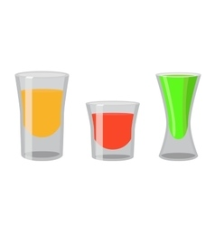 Shot glasses with golden tequila rum brandy vector image