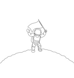 Single continuous line drawing science astronaut vector