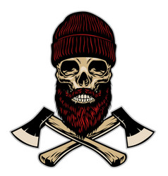 skull lumberjack with crossed axes vector image