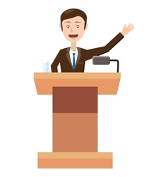 Speaker makes a report icon cartoon style vector image