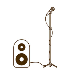 Stereo speaker with microphone on white background vector
