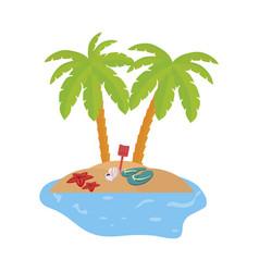 Summer coastline scene with palms and flip flops vector