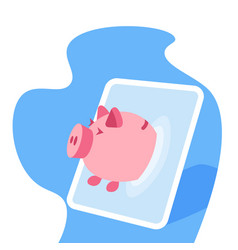 tablet screen piggy bank online application money vector image
