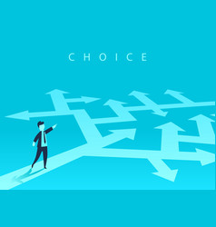 the concept of choosing the way of business and a vector image