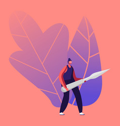 Tiny female character carry huge steel knife vector