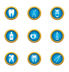 toothache icons set flat style vector image