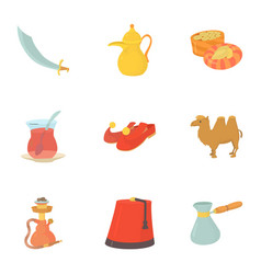 turkey celebration icons set cartoon style vector image