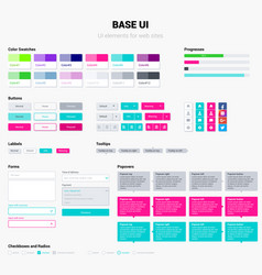 Ui kit in trendy bright colors elements vector