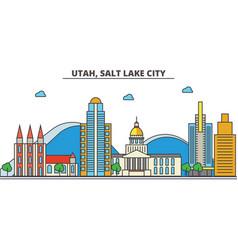 Utah salt lake citycity skyline architecture vector