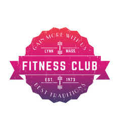 vintage fitness club logo badge emblem vector image