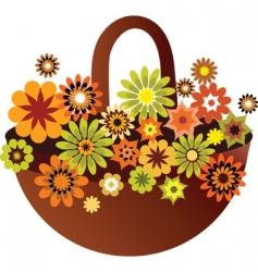 vintage floral basket vector image