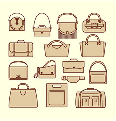 vintage purses and bags set vector image