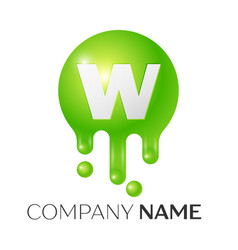 W letter splash green dots and bubbles letter vector