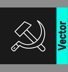 white line hammer and sickle ussr icon isolated on vector image