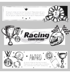 Winner Medal Banner Set vector