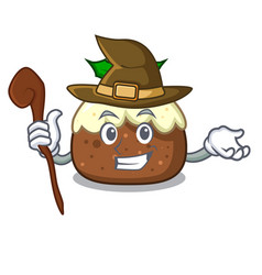 Witch fruit cake character cartoon vector