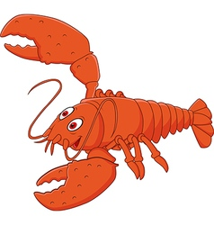 Cartoon happy lobster posing isolated vector image