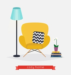 Comfortable home armchair and floor lamp books and vector image