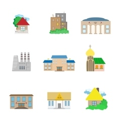 Flat Architecture icons vector image vector image