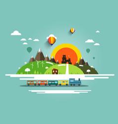 flat design landscape with steam train old castle vector image
