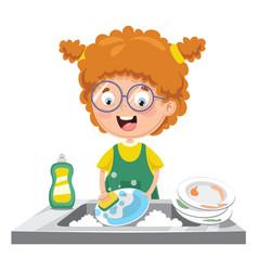 Kid washing dishes vector