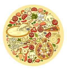set of pizza ingredient icon vector image
