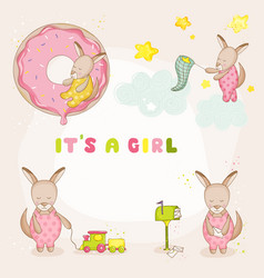 baby girl kangaroo set - baby shower cards vector image vector image