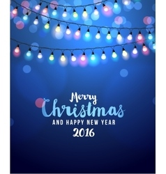 Christmas card with lights vector image