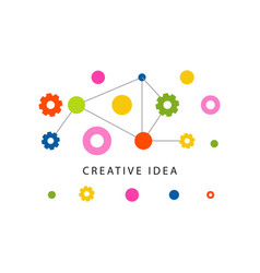 creative idea logo template with colorful gears vector image vector image