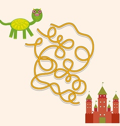 dragon and castle labyrinth game for Preschool vector image vector image