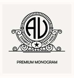 modern emblem badge monogram template luxury vector image vector image
