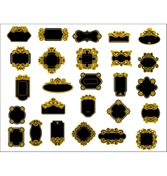 Black and yellow borders or frames vector image