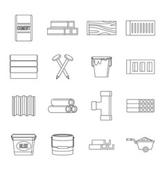 building materials icons set outline style vector image