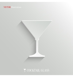 Cocktail glass icon - white app button vector image