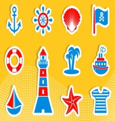 Marine and pirate icons vector image vector image