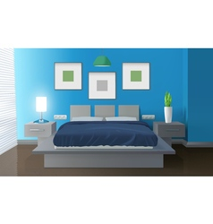 Modern Bedroom Blue Interior vector image vector image