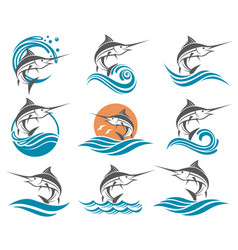 Swordfish set vector
