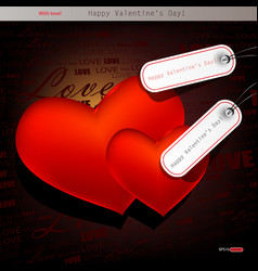 two red hearts valentines day background vector image vector image