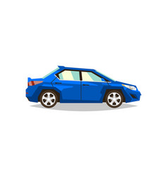 blue car sedan side view transport for travel vector image vector image