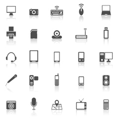 Gadget icons with reflect on white background vector image vector image