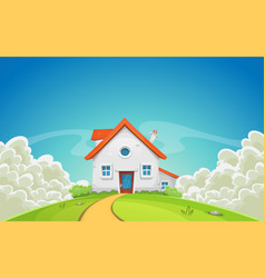 house inside nature landscape with clouds vector image vector image